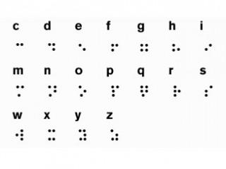 Das Foto zeigt einen Ausschnitt aus dem Braille-Alphabet