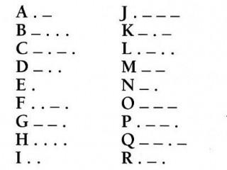 Das s/w-Foto zeigt einen Ausschnitt aus dem Morse-Alphabet